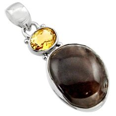 19.23cts natural brown agni manitite citrine 925 sterling silver pendant r17994