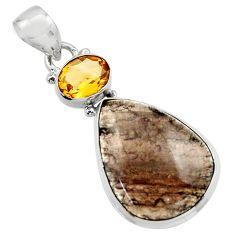 17.22cts natural brown agni manitite citrine 925 sterling silver pendant r17996