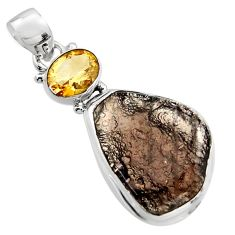 925 sterling silver 18.15cts natural brown agni manitite citrine pendant r17999