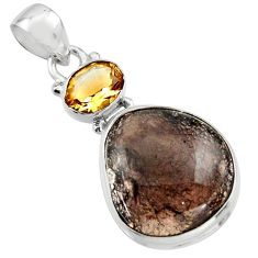 18.70cts natural agni manitite citrine 925 sterling silver pendant r18000