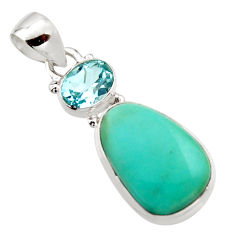 14.23cts natural green campitos turquoise topaz 925 silver pendant r18001