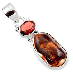 11.07cts natural multi color mexican fire agate garnet 925 silver pendant r18011