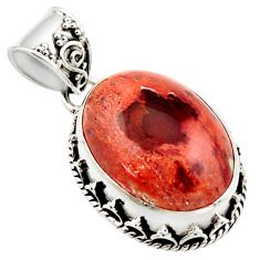 925 silver 15.47cts natural orange mexican fire opal oval pendant r18023