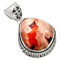 19.12cts natural orange mexican fire opal 925 sterling silver pendant r18025