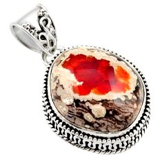 17.81cts natural orange mexican fire opal 925 sterling silver pendant r18028