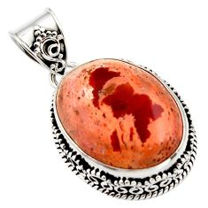 17.36cts natural orange mexican fire opal 925 sterling silver pendant r18032