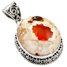 21.76cts natural orange mexican fire opal 925 sterling silver pendant r18039