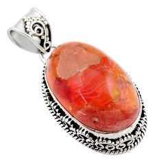 925 sterling silver 21.32cts natural orange mexican fire opal pendant r18040