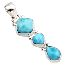 6.82cts natural blue larimar 925 sterling silver pendant jewelry r18081