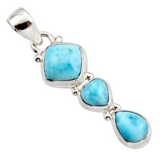 6.82cts natural blue larimar 925 sterling silver pendant jewelry r18082