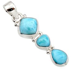 6.82cts natural blue larimar 925 sterling silver pendant jewelry r18083