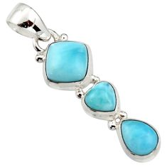 925 sterling silver 6.83cts natural blue larimar cushion pendant jewelry r18084