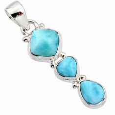 6.85cts natural blue larimar 925 sterling silver pendant jewelry r18085