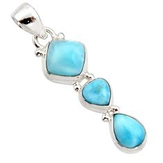 6.50cts natural blue larimar 925 sterling silver pendant jewelry r18086