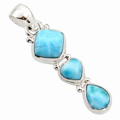 6.80cts natural blue larimar 925 sterling silver pendant jewelry r18087
