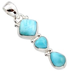 925 sterling silver 6.45cts natural blue larimar cushion pendant jewelry r18088