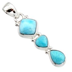 7.17cts natural blue larimar 925 sterling silver pendant jewelry r18089