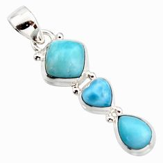 6.85cts natural blue larimar 925 sterling silver pendant jewelry r18090