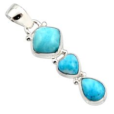 6.82cts natural blue larimar 925 sterling silver pendant jewelry r18091