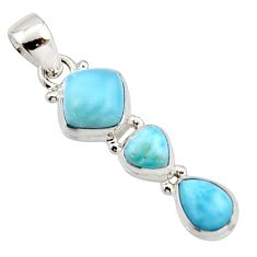 7.15cts natural blue larimar 925 sterling silver pendant jewelry r18093