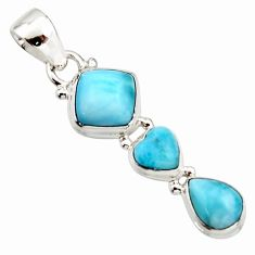6.82cts natural blue larimar 925 sterling silver pendant jewelry r18094