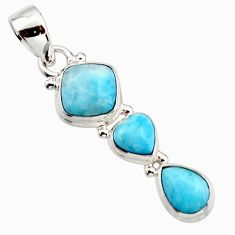 925 sterling silver 6.85cts natural blue larimar cushion pendant jewelry r18095