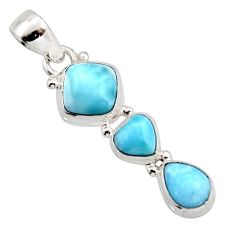6.82cts natural blue larimar 925 sterling silver pendant jewelry r18096