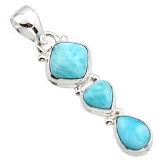 6.82cts natural blue larimar 925 sterling silver pendant jewelry r18097