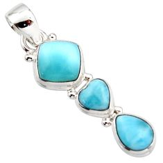 925 sterling silver 6.77cts natural blue larimar pendant jewelry r18098