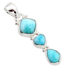 6.77cts natural blue larimar 925 sterling silver pendant jewelry r18099