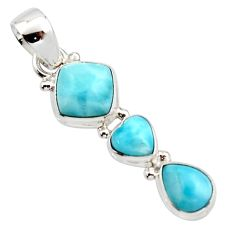 6.83cts natural blue larimar 925 sterling silver pendant jewelry r18100