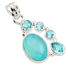11.19cts natural aqua chalcedony topaz 925 sterling silver pendant r18302