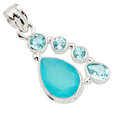 925 sterling silver 9.86cts natural aqua chalcedony pear topaz pendant r18305