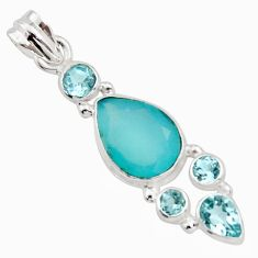 9.81cts natural aqua chalcedony topaz 925 sterling silver pendant jewelry r18306