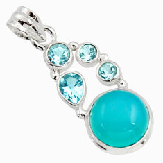 925 sterling silver 10.23cts natural aqua chalcedony topaz pendant r18308