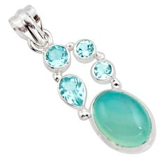 10.60cts natural aqua chalcedony topaz 925 sterling silver pendant r18309