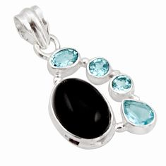 925 sterling silver 10.24cts natural rainbow obsidian eye topaz pendant r18311