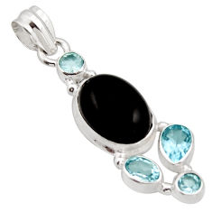 10.17cts natural rainbow obsidian eye topaz 925 sterling silver pendant r18312