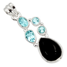 925 sterling silver 10.24cts natural rainbow obsidian eye topaz pendant r18314