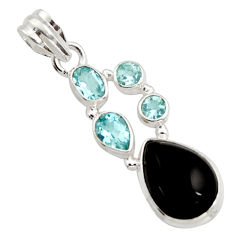 9.85cts natural rainbow obsidian eye topaz 925 sterling silver pendant r18316