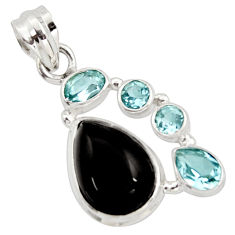 925 sterling silver 10.24cts natural rainbow obsidian eye topaz pendant r18317