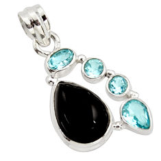9.86cts natural rainbow obsidian eye topaz 925 sterling silver pendant r18318