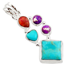 10.01cts green arizona mohave turquoise 925 sterling silver pendant r18321