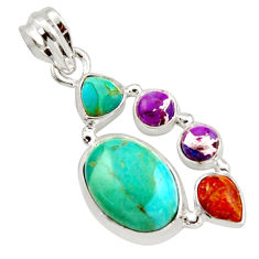 10.01cts green arizona mohave turquoise 925 sterling silver pendant r18322