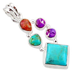 925 silver 10.24cts green arizona mohave turquoise pendant jewelry r18324