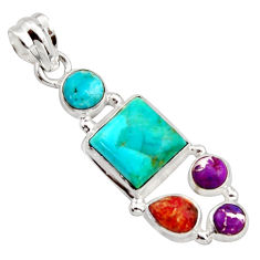 9.98cts green arizona mohave turquoise 925 silver pendant jewelry r18325