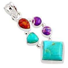925 silver 9.98cts green arizona mohave turquoise pendant jewelry r18330