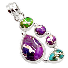 9.63cts multi color copper turquoise 925 sterling silver pendant jewelry r18331