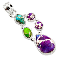 10.17cts multi color copper turquoise 925 sterling silver pendant jewelry r18332