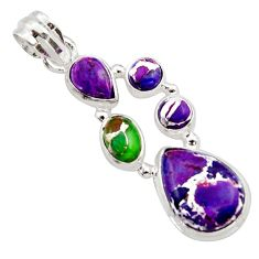 925 sterling silver 9.57cts multi color copper turquoise pendant jewelry r18339